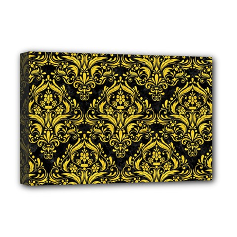 Damask1 Black Marble & Yellow Colored Pencil (r) Deluxe Canvas 18  X 12
