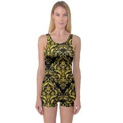 Damask1 Black Marble & Yellow Colored Pencil (r) One Piece Boyleg Swimsuit