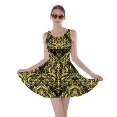 Damask1 Black Marble & Yellow Colored Pencil (r) Skater Dress