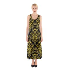Damask1 Black Marble & Yellow Colored Pencil (r) Sleeveless Maxi Dress