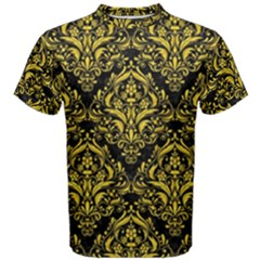 Damask1 Black Marble & Yellow Colored Pencil (r) Men s Cotton Tee