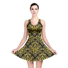 Damask1 Black Marble & Yellow Colored Pencil (r) Reversible Skater Dress