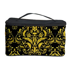 Damask1 Black Marble & Yellow Colored Pencil (r) Cosmetic Storage Case