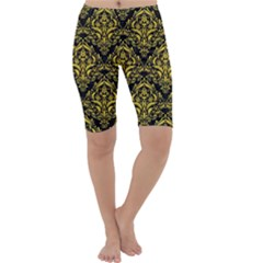 Damask1 Black Marble & Yellow Colored Pencil (r) Cropped Leggings