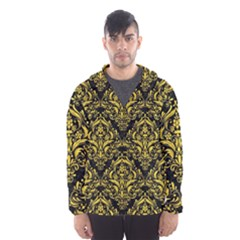 Damask1 Black Marble & Yellow Colored Pencil (r) Hooded Wind Breaker (men)