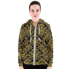 Damask1 Black Marble & Yellow Colored Pencil (r) Women s Zipper Hoodie
