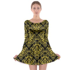 Damask1 Black Marble & Yellow Colored Pencil (r) Long Sleeve Skater Dress