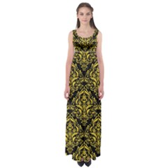 Damask1 Black Marble & Yellow Colored Pencil (r) Empire Waist Maxi Dress