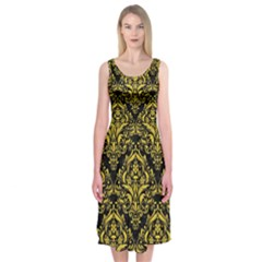 Damask1 Black Marble & Yellow Colored Pencil (r) Midi Sleeveless Dress