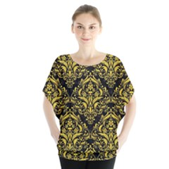 Damask1 Black Marble & Yellow Colored Pencil (r) Blouse