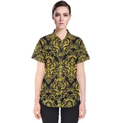 Damask1 Black Marble & Yellow Colored Pencil (r) Women s Short Sleeve Shirt