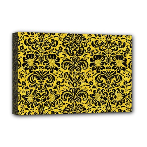 Damask2 Black Marble & Yellow Colored Pencil Deluxe Canvas 18  X 12