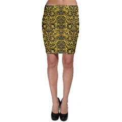 Damask2 Black Marble & Yellow Colored Pencil Bodycon Skirt