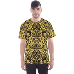 Damask2 Black Marble & Yellow Colored Pencil Men s Sports Mesh Tee