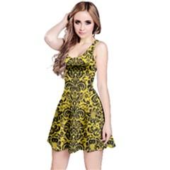 Damask2 Black Marble & Yellow Colored Pencil Reversible Sleeveless Dress