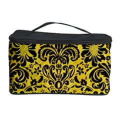 Damask2 Black Marble & Yellow Colored Pencil Cosmetic Storage Case