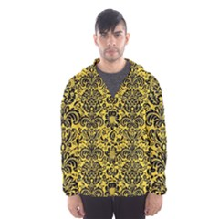 Damask2 Black Marble & Yellow Colored Pencil Hooded Wind Breaker (men)