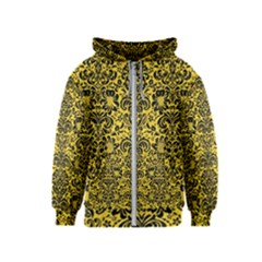 Damask2 Black Marble & Yellow Colored Pencil Kids  Zipper Hoodie