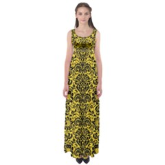 Damask2 Black Marble & Yellow Colored Pencil Empire Waist Maxi Dress