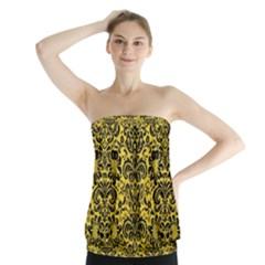 Damask2 Black Marble & Yellow Colored Pencil Strapless Top