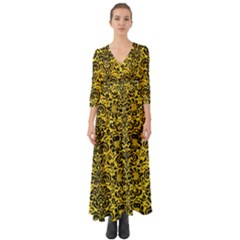 Damask2 Black Marble & Yellow Colored Pencil Button Up Boho Maxi Dress