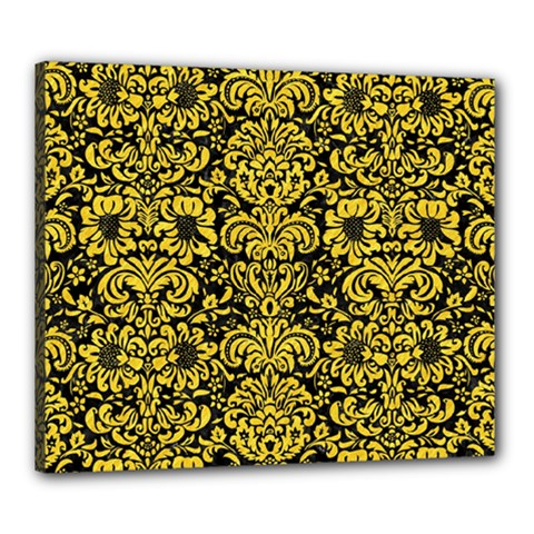Damask2 Black Marble & Yellow Colored Pencil (r) Canvas 24  X 20