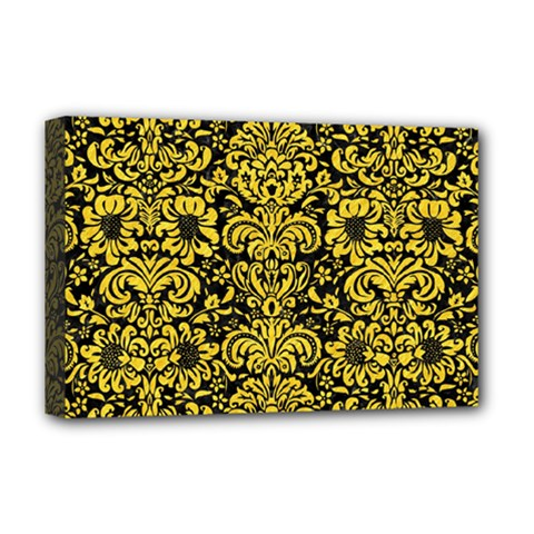 Damask2 Black Marble & Yellow Colored Pencil (r) Deluxe Canvas 18  X 12