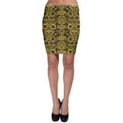 Damask2 Black Marble & Yellow Colored Pencil (r) Bodycon Skirt
