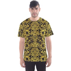Damask2 Black Marble & Yellow Colored Pencil (r) Men s Sports Mesh Tee