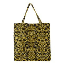 Damask2 Black Marble & Yellow Colored Pencil (r) Grocery Tote Bag