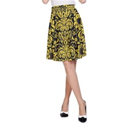 Damask2 Black Marble & Yellow Colored Pencil (r) A Line Skirt