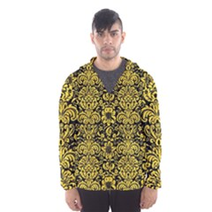Damask2 Black Marble & Yellow Colored Pencil (r) Hooded Wind Breaker (men)
