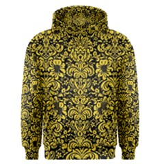 Damask2 Black Marble & Yellow Colored Pencil (r) Men s Pullover Hoodie