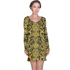 Damask2 Black Marble & Yellow Colored Pencil (r) Long Sleeve Nightdress