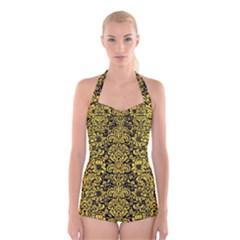Damask2 Black Marble & Yellow Colored Pencil (r) Boyleg Halter Swimsuit