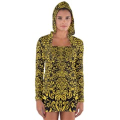 Damask2 Black Marble & Yellow Colored Pencil (r) Long Sleeve Hooded T Shirt