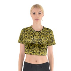 Damask2 Black Marble & Yellow Colored Pencil (r) Cotton Crop Top