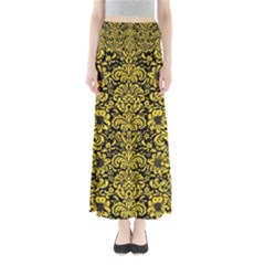 Damask2 Black Marble & Yellow Colored Pencil (r) Full Length Maxi Skirt