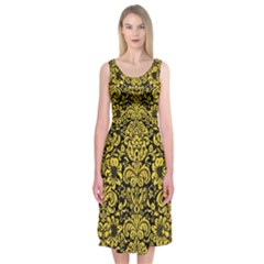 Damask2 Black Marble & Yellow Colored Pencil (r) Midi Sleeveless Dress