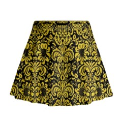 Damask2 Black Marble & Yellow Colored Pencil (r) Mini Flare Skirt