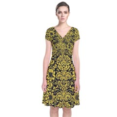 Damask2 Black Marble & Yellow Colored Pencil (r) Short Sleeve Front Wrap Dress