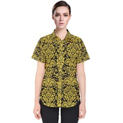 Damask2 Black Marble & Yellow Colored Pencil (r) Women s Short Sleeve Shirt