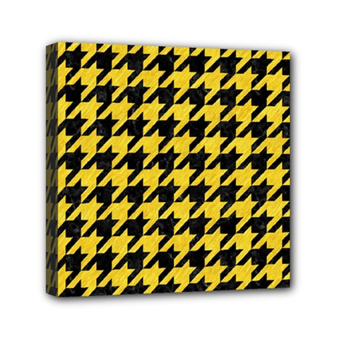 Houndstooth1 Black Marble & Yellow Colored Pencil Mini Canvas 6  X 6