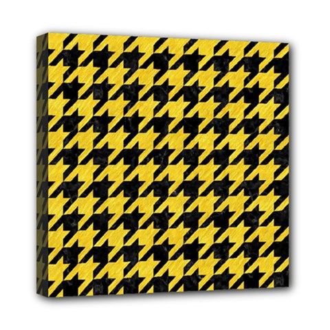 Houndstooth1 Black Marble & Yellow Colored Pencil Mini Canvas 8  X 8