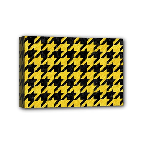 Houndstooth1 Black Marble & Yellow Colored Pencil Mini Canvas 6  X 4