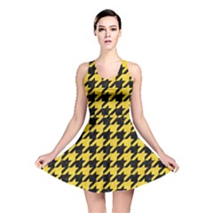 Houndstooth1 Black Marble & Yellow Colored Pencil Reversible Skater Dress