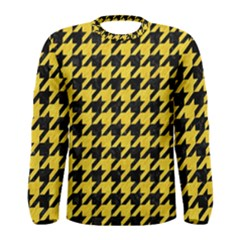 Houndstooth1 Black Marble & Yellow Colored Pencil Men s Long Sleeve Tee