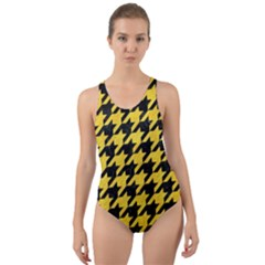 Houndstooth1 Black Marble & Yellow Colored Pencil Cut Out Back One Piece Swimsuit