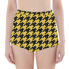 Houndstooth1 Black Marble & Yellow Colored Pencil High Waisted Bikini Bottoms