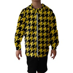 Houndstooth1 Black Marble & Yellow Colored Pencil Hooded Wind Breaker (kids)